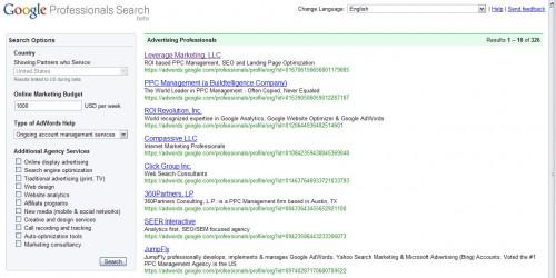 AdWords Professionals keresési eredmények