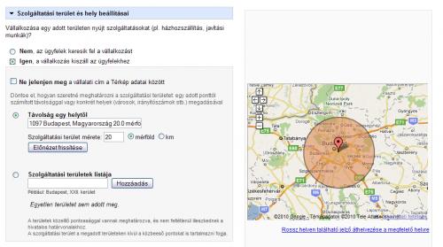 Google Helyek: Szolgáltatási terület és hely