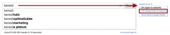 Google Instant kikapcsolása
