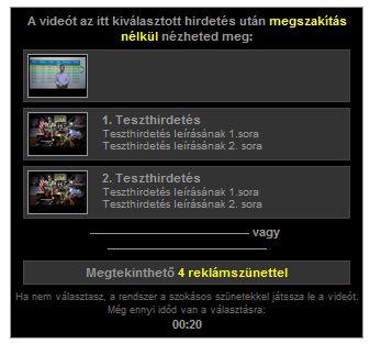In-Slate hirdetés hosszabb videók előtt