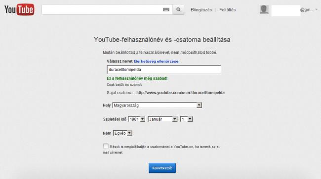 YouTube csatorna létrehozása - Saját csatorna adatai