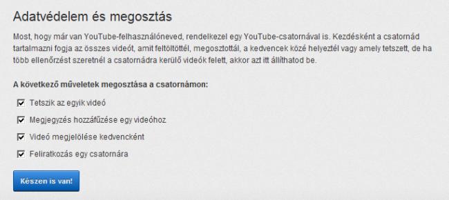 YouTube csatorna létrehozása - Adatvédelmi beállítások
